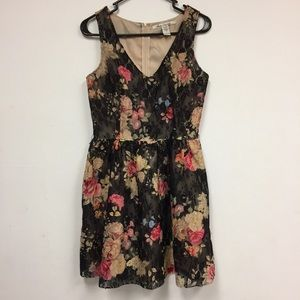 American Rag Sheath Dress Floral Black Sz Small
